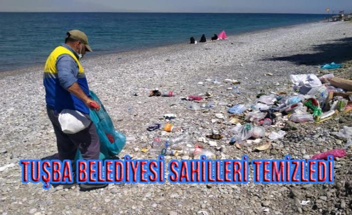 Tuşba'daki sahillerde temizlik çalışması...