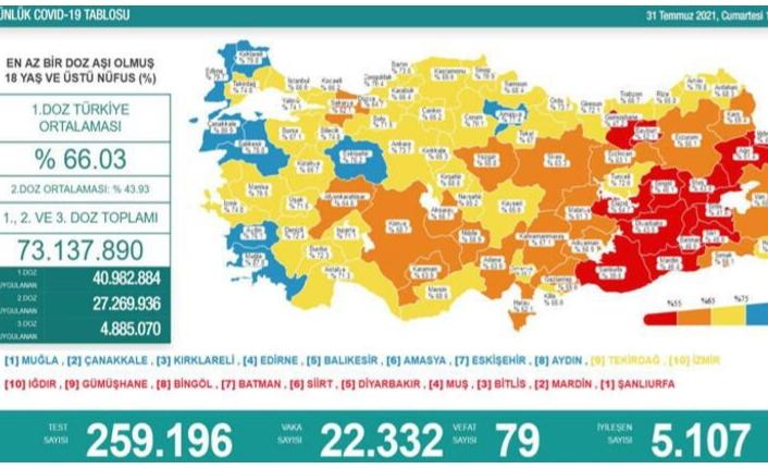 31 Temmuz koronavirüs verileri paylaşıldı