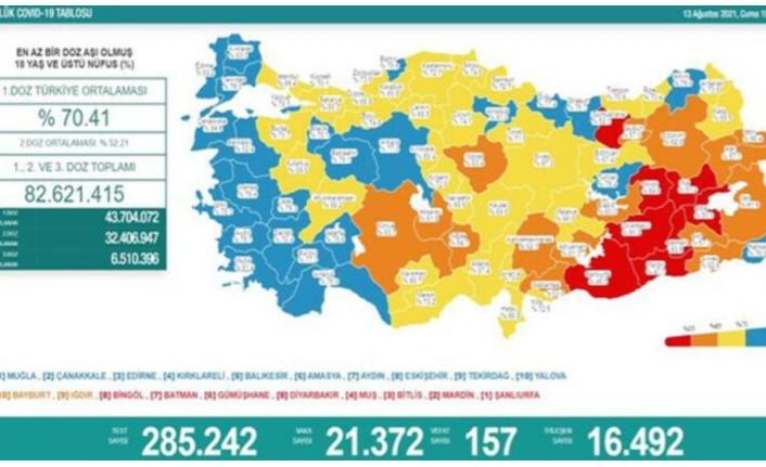 13 Ağustos koronavirüs verileri paylaşıldı