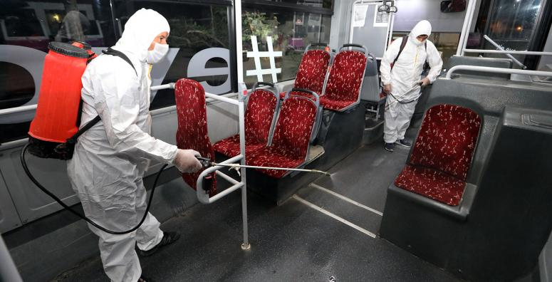 Toplu taşıma araçlarının dezenfekte çalışmaları sürüyor