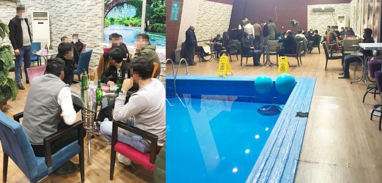 Havuz başında alkol servisi ve müzik dinletisi polise takıldı