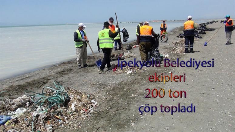 Van Gölü kıyısında 200 ton çöp toplandı