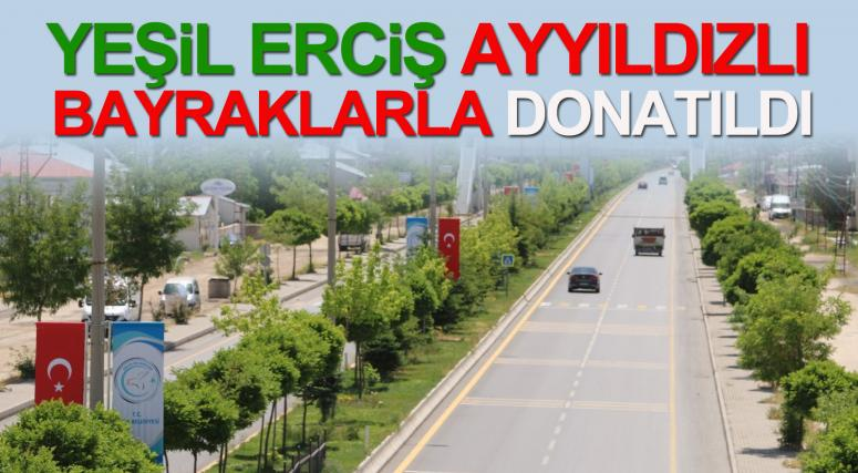 Erciş'te caddeler bayraklarla süslendi