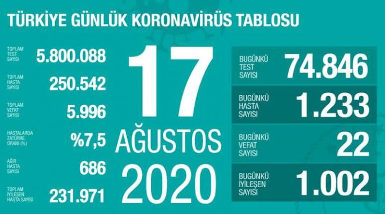 Koronavirüs 17 Ağustos verileri açıklandı