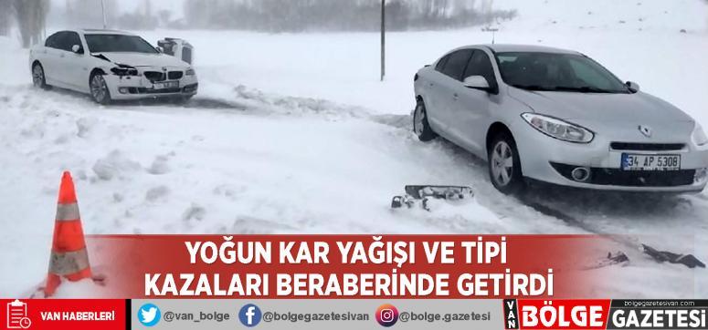 Yoğun kar yağışı ve tipi kazaları beraberinde getirdi