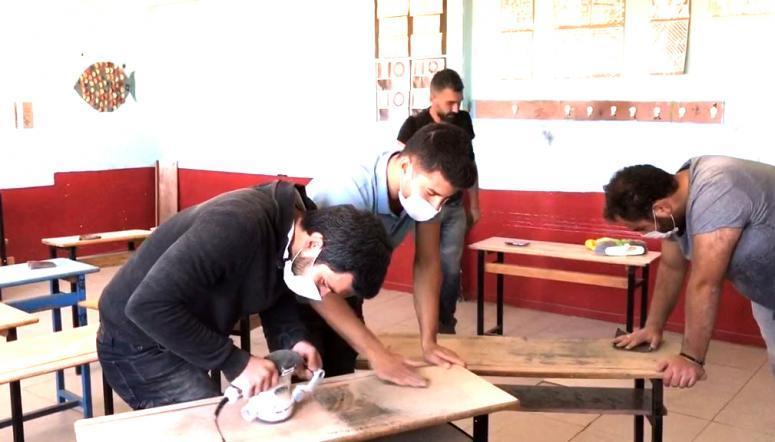 Gönüllü öğretmenler kendi imkanları ile okulu tadilattan geçirdi
