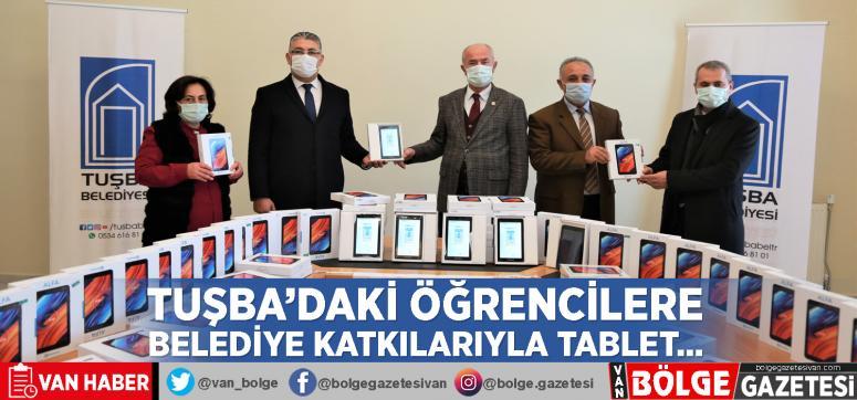 Tuşba'daki öğrencilere belediye katkılarıyla tablet…