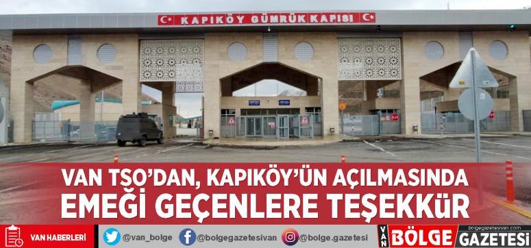 Van TSO'dan, Kapıköy'ün açılmasında emeği geçenlere teşekkür