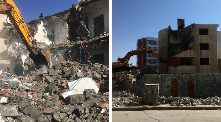 İpekyolu'nda ağır hasarlı yapıların yıkımı sürüyor