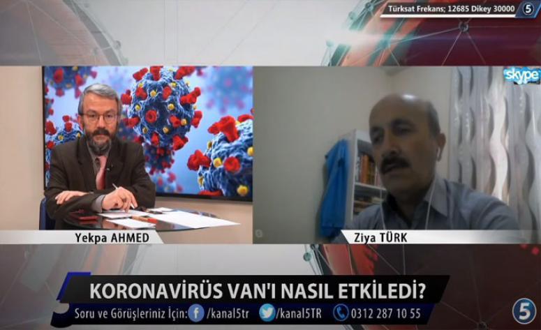 Gazeteci Türk Kanal5 TV canlı yayınında Van'daki Koronavirüs tedbirlerini anlattı