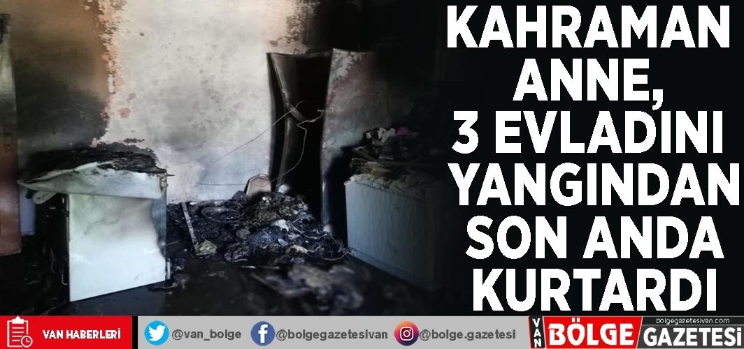 Kahraman anne, 3 evladını yangından son anda kurtardı