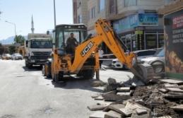 Erek Dağı Caddesi'nde yenileme çalışmaları...