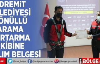 Edremit Belediyesi Gönüllü Arama Kurtarma Ekibine...