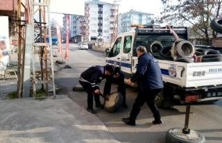 Erciş'te yol ve kaldırım işgali denetimi