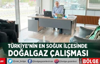 Türkiye'nin en soğuk ilçesinde doğalgaz çalışması
