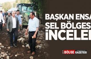 Başkan Ensari'den sel bölgesine inceleme...