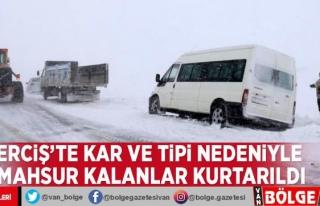Erciş'te kar ve tipi nedeniyle mahsur kalanlar...