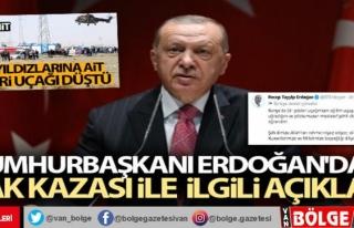 Cumhurbaşkanı Erdoğan'dan uçak kazası ile...