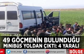 49 göçmenin bulunduğu minibüs yoldan çıktı:...