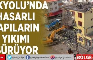 İpekyolu'nda hasarlı yapıların yıkımı...