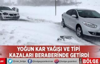 Yoğun kar yağışı ve tipi kazaları beraberinde...