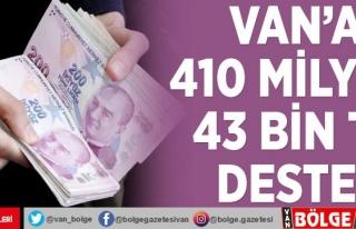 Van'a 410 milyon 43 bin TL destek