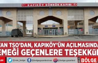Van TSO'dan, Kapıköy'ün açılmasında...