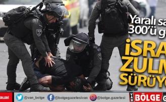İsrail güçleri, Mescid-i Aksa'da Filistinlilere müdahalesini sürdürüyor